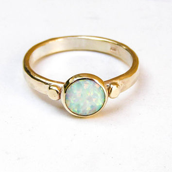 Opal Mother's Day Ring, Opal Engagement Ring, Stackable Ring, Alternative Engagement Ring, White opal Ring, Wedding Ring, Promise Rings