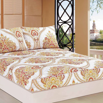 Tache 2-3 PC Sunshine Festival White Gold Fancy Patterned Fitted Sheet Set