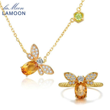 LAMOON 2pcs Bee Natural Citrine Jewelry Sets Ring Necklace For Women Unique 925 Sterling Silver Jewelry Yellow Gold Jewelry Set