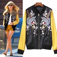 Indie Designs Bird Embroidered Floral Satin Skajan Souvenir Jacket