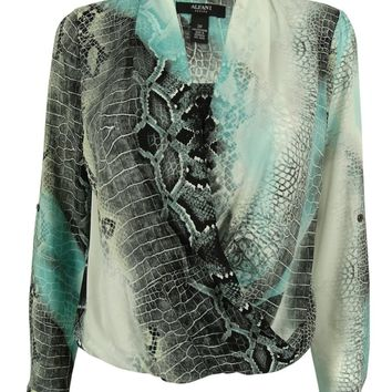 Alfani Women's Animal Print Faux Wrap Blouson Top