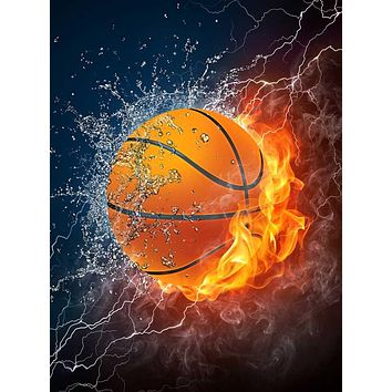 Printed Background Fire Basketball Backdrop - 398