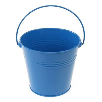 Metal Pail Buckets Party Favor, 5-inch, Blue