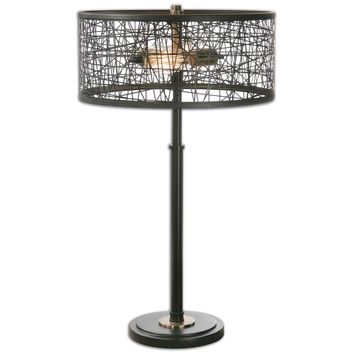 Alita Black Drum Shade Table Lamp by Uttermost