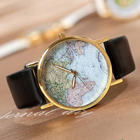 World Map Watch Unisex Watches Mens wristwatches Women Watches Father 's day Gift, the best Gift-1