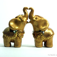 Gold Elephant Wedding Cake Toppers -  Decorated Indian Elephants - Handmade Original Sculptures in Polymer Clay