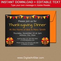 Thanksgiving Dinner Invitation Template - Thanksgiving Chalkboard Invites - Printable Turkey Invitations - Thanksgiving Baby Announcement