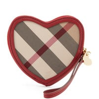 Burberry Check Heart-Shaped Coin Purse, Lacquer Red