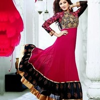 Attractive Black & Magenta Embroidered Long Salwar Kameez - Salwar Kameez - Women