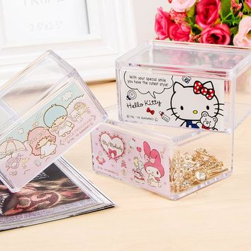 Cute Cartoon Jewelry Box Hello Kitty Makeup Organizer Stackable Storage Compartment Transparent Storage Box