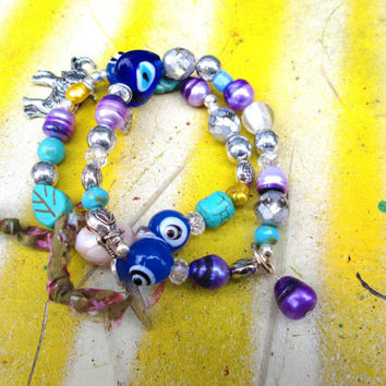 Simple Beaded Boho stretch Bracelet with Murano Glass Beads and Purple Pearls, Shabby Chic
