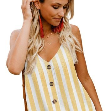 Yellow Striped Button Up V Neck Strappy Shirt Cami Top