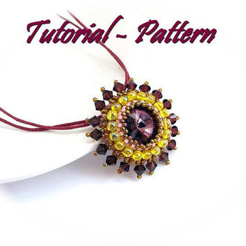 Beading pattern for beaded pendant Morning Flower - PDF instructions, step by step tutorial for a sparkling beaded pendant