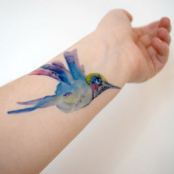 Temporary Tattoo hummingbird - Watercolor, blue, pink, bird, painting, nature, stocking stuffer