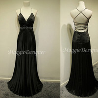 Chiffon prom dress backless dress beading dress long bridesmaid dress Graduation Dresses Crystal Party Dresses Long prom dress Black dress