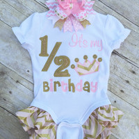 Pink and Gold 1/2 Birthday Shirt. Pink and Gold It's My Half Birthday Bodysuit, Its my 1/2 Birthday Bodysuit, Optional OTT Hairbow