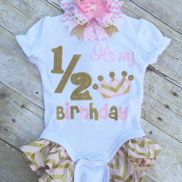 c1ad0b655e2 Pink and Gold 1 2 Birthday Shirt. Pink and Gold It s My Half Birthday