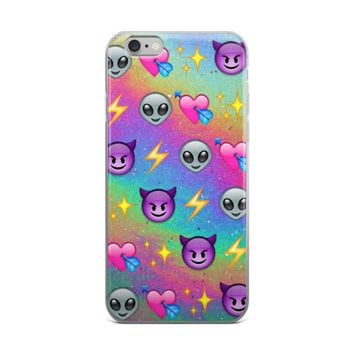 Heart With Arrow Alien Glowing Stars Purple Devil & Lightning Bolt Emoji Collage Glitter Tie Dye iPhone 4 4s 5 5s 5C 6 6s 6 Plus 6s Plus 7 & 7 Plus Case