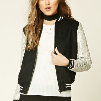 Sequin and Faux Suede Jacket
