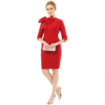 Red Elegant Sheath Mother Of The Bride Dresses Scoop Neck Half Sleeves Zipper With Bow Short Party Dress