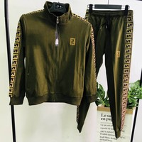FENDI 2018 autumn new men and women models embroidery sports and leisure two-piece Green