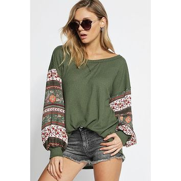 Puff Sleeve Boho Top - Olive