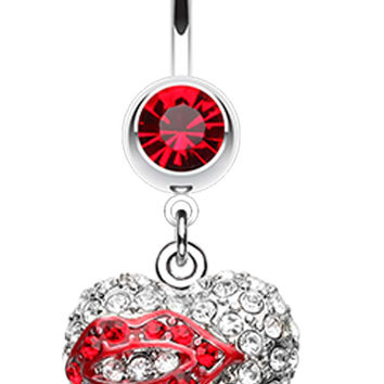 Sexy Lip Glam Heart Belly Button Ring