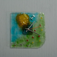 Clocks made of fusing glass handmade home accessories original decorations Glade