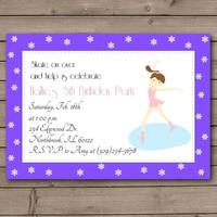 Purple Ice Skating Party Invitations: Brunette or Blonde Figure Skater