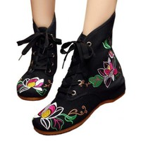 Vintage Beijing Cloth Shoes Embroidered Boots 11-01   black   35