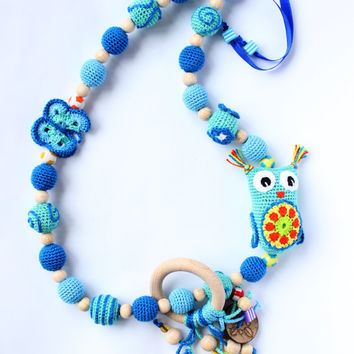 Rainbow nursing necklace for baby with from tildaart on etsy breastfeeding necklace in blue tones with a little owl and a wooden ring of pendants aloadofball Gallery