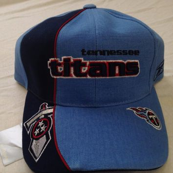 BRAND NEW TENNESSEE TITANS REEBOK NAVY  AND SKY RETRO CURVED BRIM ADJUSTABLE HAT