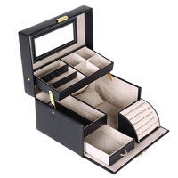 Black Leather Jewelry Box Lockable Makeup Storage Accessory Case with Mirror