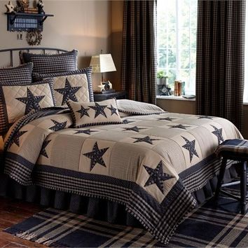 Sturbridge Patch & Star Country Quilt Set Black and Tan by Park Designs