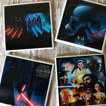 Star Wars The Force Awakens Ceramic Tile Coasters- Star Wars Geek Fan
