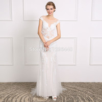Real Photos Wedding Dress Beaded Appliques Scoop Cap Sleeves Mermaid Long Bridal Dress For Wedding Party Special Occassion Dress
