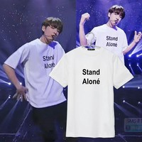 OKOUFEN BTS Stand Alone T-shirt tumblr cotton women clothing unisex crewneck letter printed fashion t shirts aesthetic tees