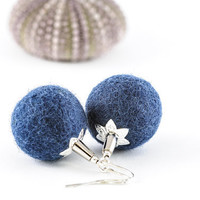 Eco Friendly Felt Earrings Felt Bead Jewelry Beadwork Earrings Blue Earrings Mother Day Gift