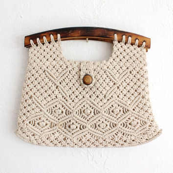 Vintage 70s Ivory Macramé Woven Clutch Handbag with Wood Handles