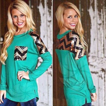 Autumn Sequined Green Loose Cotton Sweater