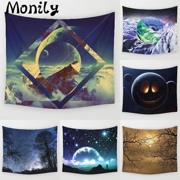 Monily Moon Polyester Fantasy Beautiful Mountain Scenic Printed Hanging Wall Tapestry Home Decor Yoga Mat Living Room Decoration