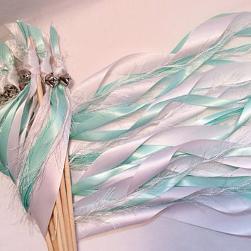 100 Wedding wands white aqua and white frayed ribbon streamers with bells send off ribbon you choose colors