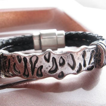 Braided Thick Leather and Metal Cuff/Bracelet, Silver Metal, Black Leather Bracelet