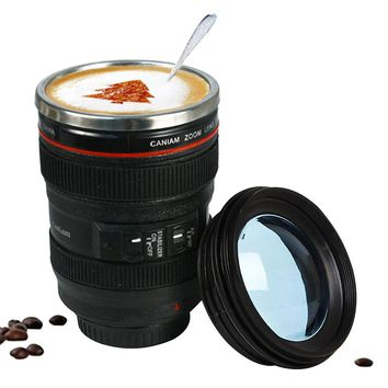 Stainless Steel Camera Lens Mug With Lid 400ml Coffee Tea Cup