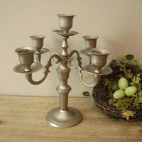 Vintage upcycled 5 Arm CANDELABRA small candelabra silver painted metal Taper holder Shabby chic cottage