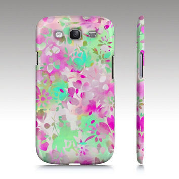 Samsung Galaxy S3 case, floral pattern, watercolor flowers, pink mint green, art for your phone