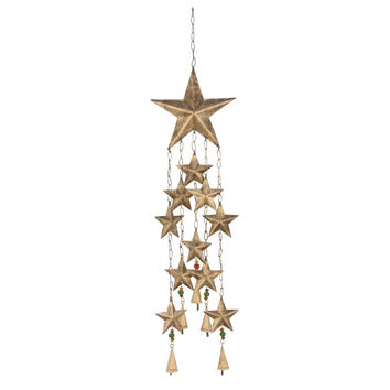 Benzara Captivating Metal Glass Star Wind Chime