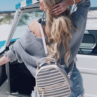 White Striped Backpack Purse