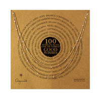 100 good wishes tiny faceted necklace, gold dipped, 41 inch