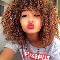 Towheaded Afro American Curly Capless Stylish Medium Brown Women's Synthetic Wig